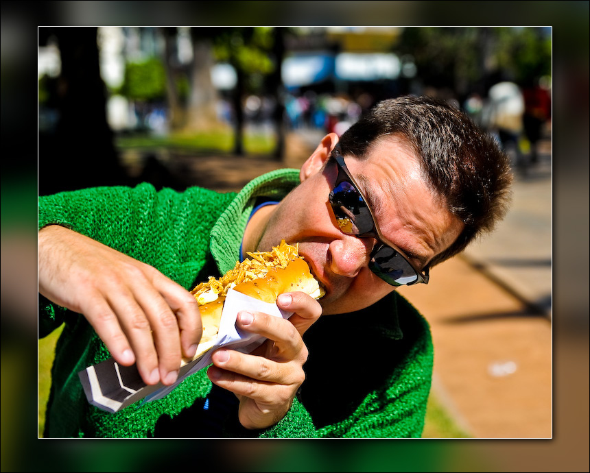 Yours truly eating a Superpancho.