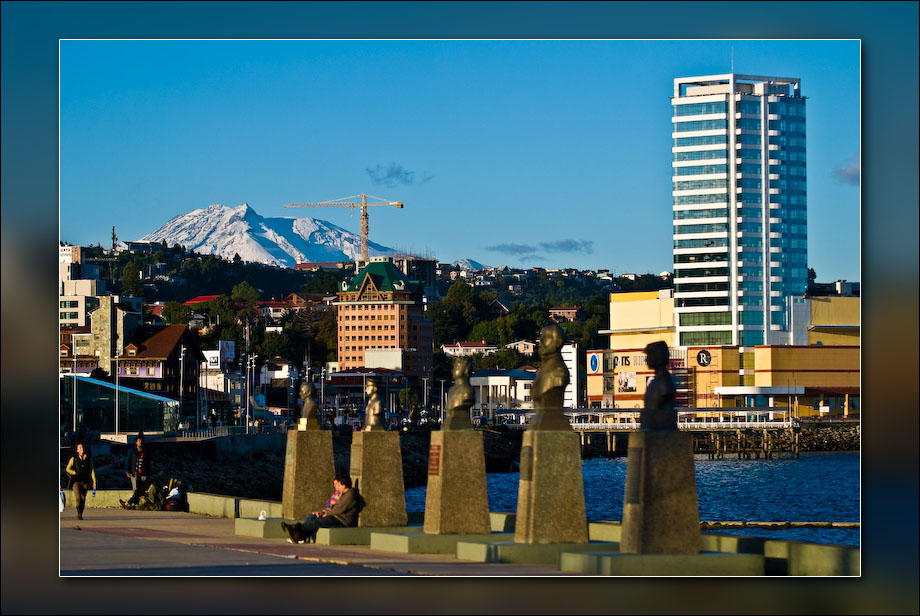 Downtown Puerto Montt with Volcán Calbuco