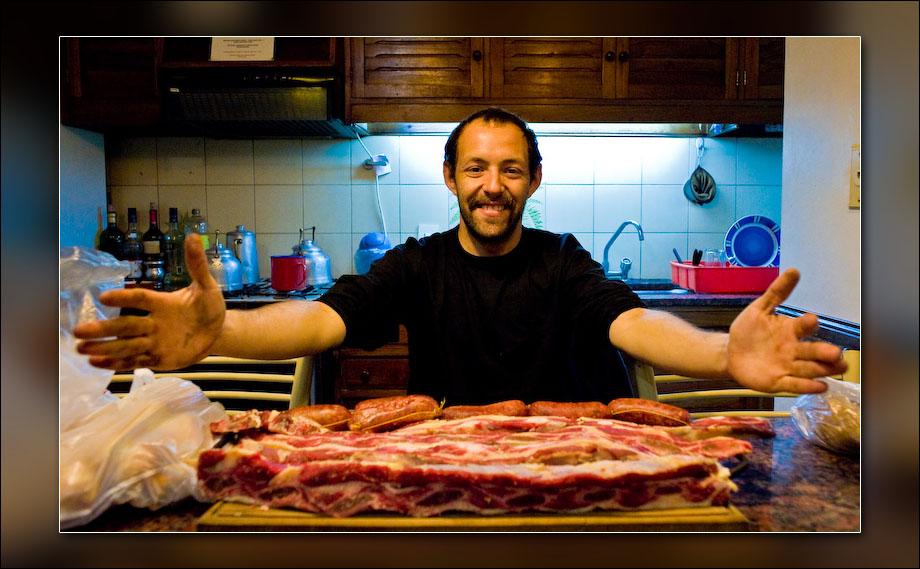 Bruno, preparing dinner.