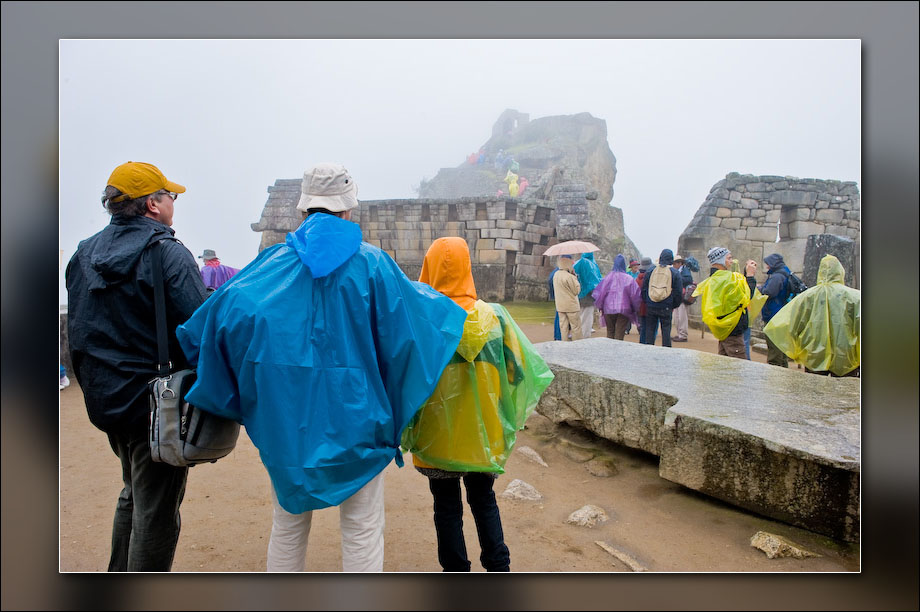 Tourists and rain.