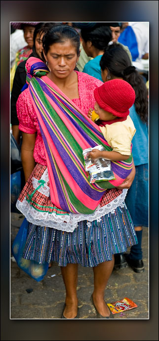 A common way to carry one's baby in Central America