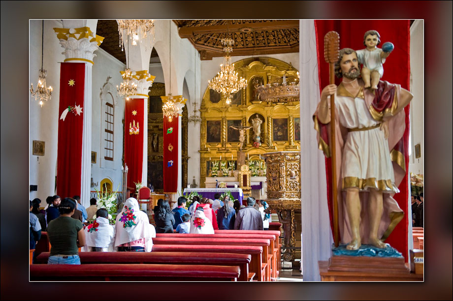 Inside a church in San Cristóbol de las Casas