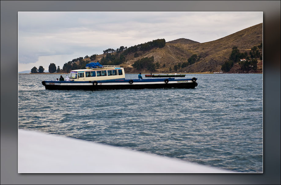 Our bus crossing the lake.