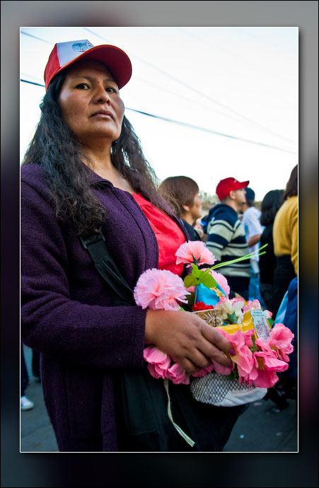 A woman returning from the parade.