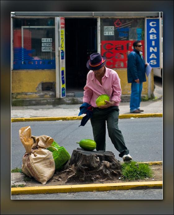 A street vendor in Quito.