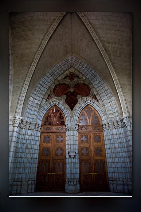A glimpse into the foyer of La Basilica church, Quito, Ecuador.